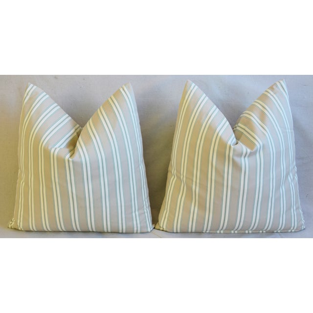 """French Striped Ticking Feather/Down Pillows 23"""" Square - Pair For Sale In Los Angeles - Image 6 of 11"""