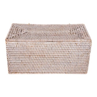 Artifacts White Wash Rattan Rectangular Double Tissue Roll Box With Lid For Sale