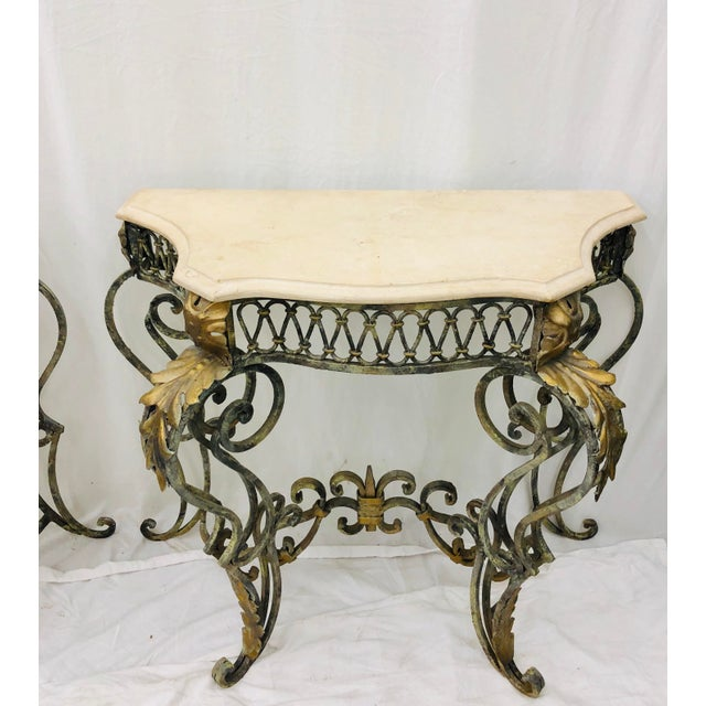 Pair Vintage Wrought Iron & Stone Side Tables For Sale - Image 4 of 11