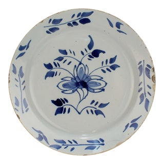 Antique 18th Century London English Delft Pottery Pancake Plate For Sale