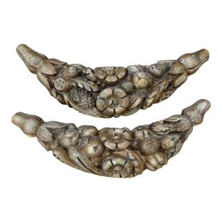 17th Century Italian Carved Fruit Swag Architectural Elements-A Pair For Sale