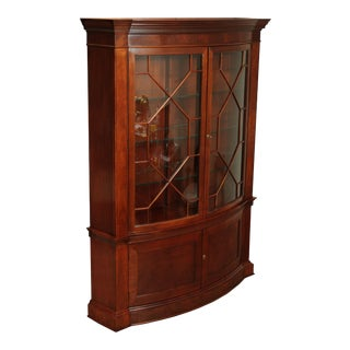 Baker Historic Charleston Collection Large Mahogany Bow Front China Cabinet For Sale