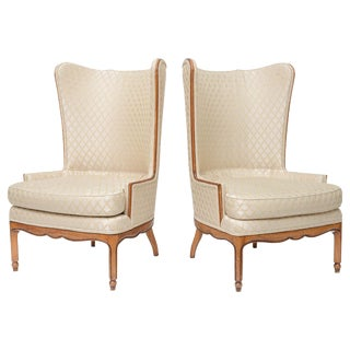 Grosfeld-Style 1950 Wingback Club Chairs - A Pair For Sale