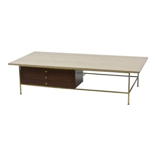 Large Brass and Travertine Cocktail Table by Paul McCobb For Sale