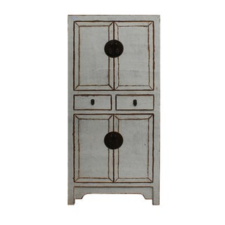 Chinese Distressed Rustic Off White Two Shelves Storage Cabinet For Sale