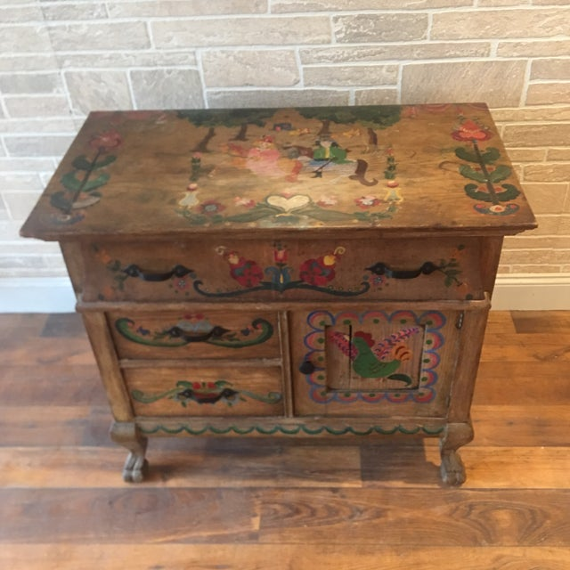 Early 21st Century Dutch Folk Art Painted Oak Chest For Sale In New York - Image 6 of 13
