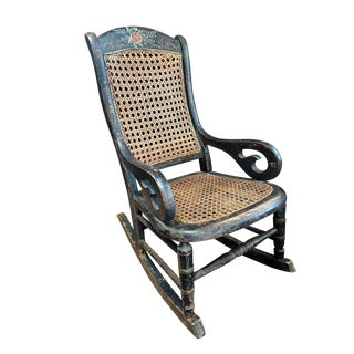 19th Century Antique Gilt Hand Painted Child's Rocking Chair Cane Back and Seat For Sale