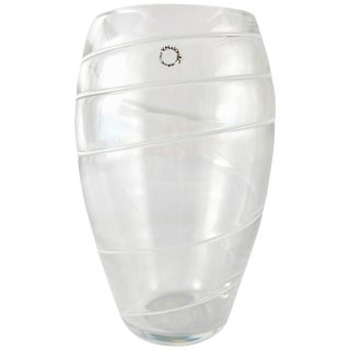 V. Nason & C. Italy Murano Glass Vase With White Spiral Stripes For Sale