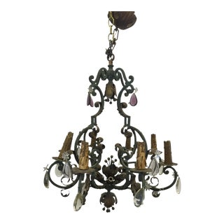 French Painted Iron and Crystal Chandelier