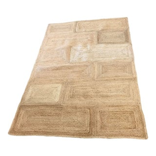 Ecru Jute Squares Rug - 5′4″ × 7′8″ For Sale