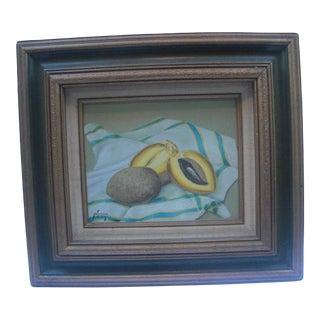 Late 20th Century Still Life of Melon on Dishtowel Oil Painting, Framed For Sale