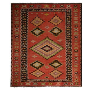 Vintage Mid-Century Sarkoy Diamond Salmon Red and Green Wool Kilim Rug For Sale