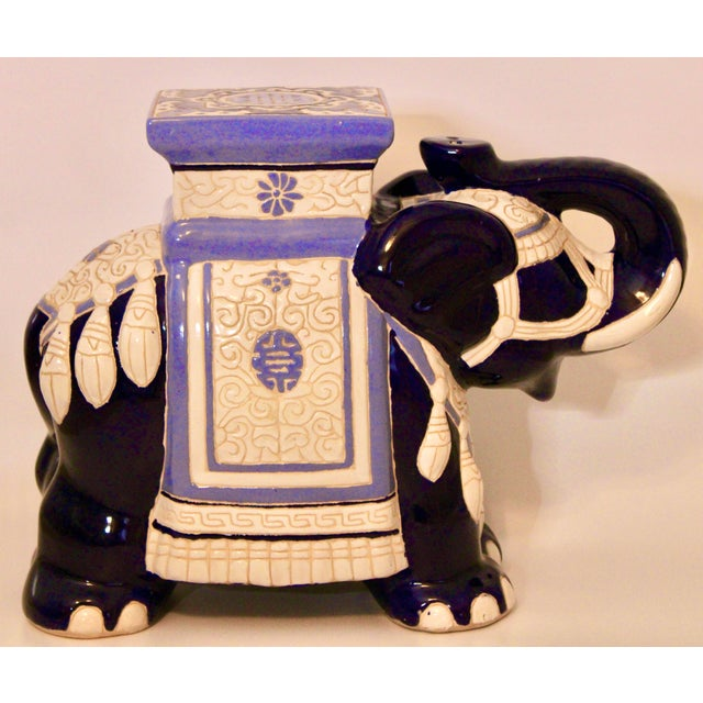 A charming Blue and White Ceramic Elephant Garden Stool. Perfect for or outdoor or indoor use as a seat or unique accent...