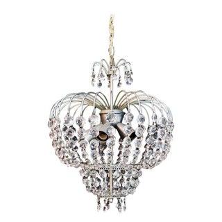 1960s Crystal Chandelier Light For Sale