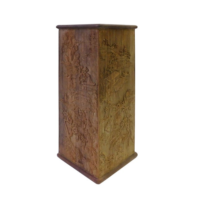 Square oriental carved bamboo pen holder chairish