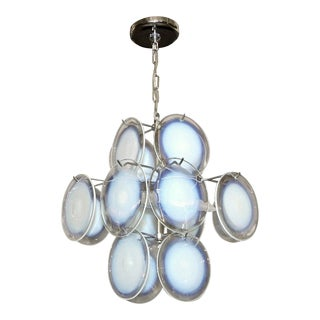 Vistosi Murano Clear & Opalescent Glass Disc Chandelier Pendant Light