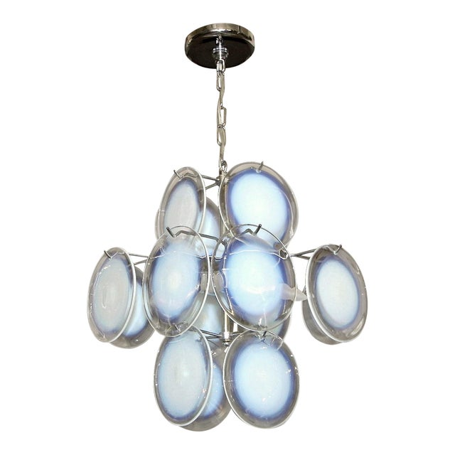 Vistosi Murano Clear & Opalescent Glass Disc Chandelier Pendant Light For Sale
