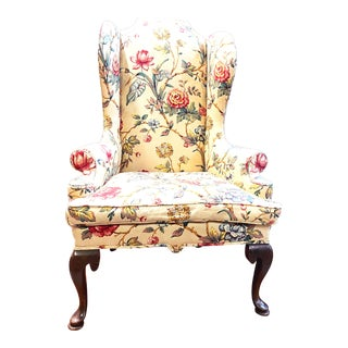 Antique Queen Anne Style Upholstered Wingback Armchair For Sale