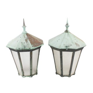 Antique French Verdigris Outdoor Lanterns - a Pair For Sale