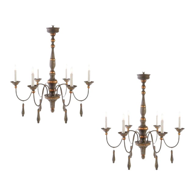 Two Chic Six-arm Chandeliers in Lovely French Grey Finish, Gilt Accents For Sale