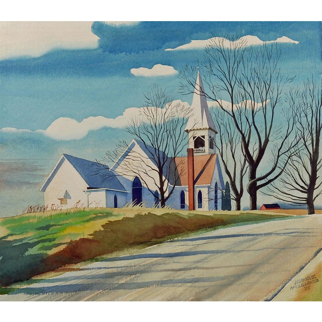"""Crisp Autumn Morning"" Watercolor Painting by L. McClelland For Sale"