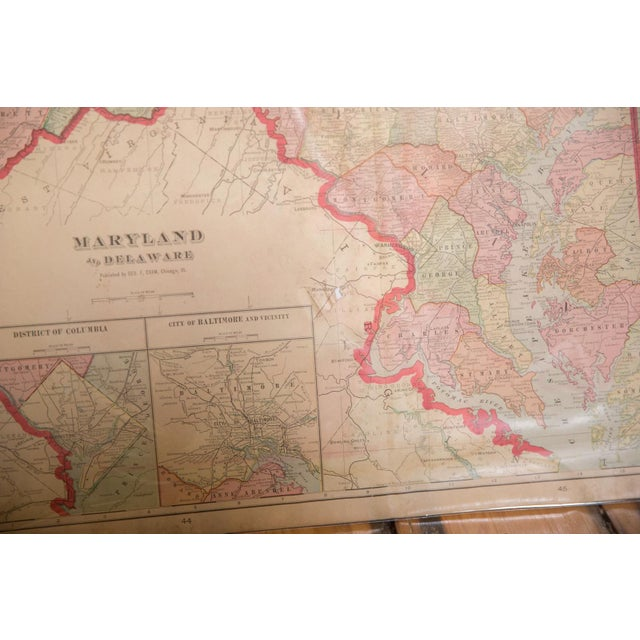 American Cram's 1907 Map of Maryland For Sale - Image 3 of 8