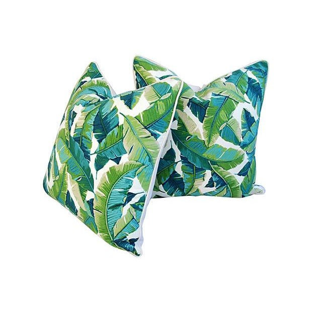 "24"" Square Custom Tailored Tropical Banana Leaf Feather/Down Pillows - Pair - Image 6 of 7"
