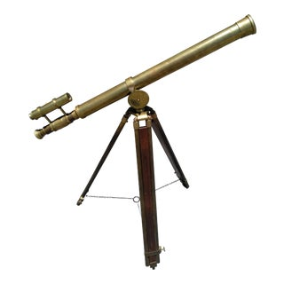 1900's Vintage Brass Ross, London Telescope With Stand For Sale