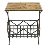 Image of Bamboo Side Table With Iron Magazine Stand For Sale