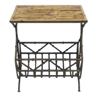 Bamboo Side Table With Iron Magazine Stand