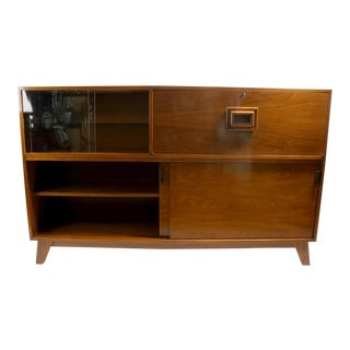 Mid Century Bar Writing Secretary Desk Display Cabinet For Sale