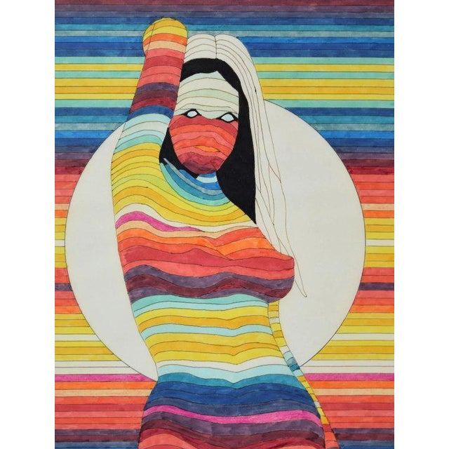 Contemporary 1970's Contemporary Rainbow Color Marker Drawing of Nude Girl With White Sphere For Sale - Image 3 of 5