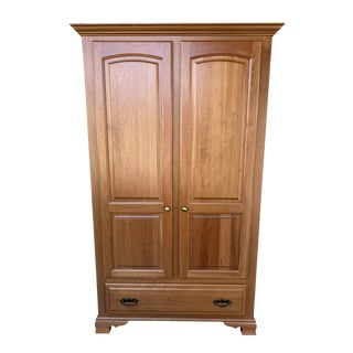 Amish Cherry Wood Classic Wardrobe Armoire For Sale