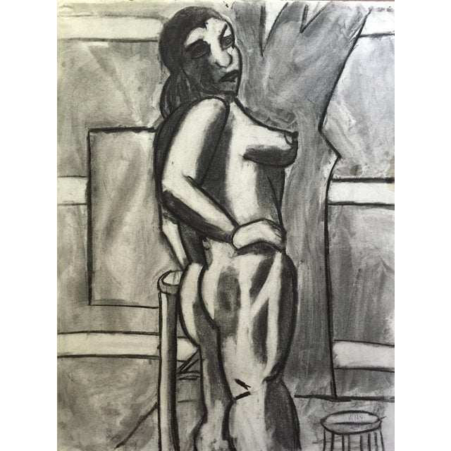 Paper 1950s Charcoal Drawing Bay Area Artist Female Nude For Sale - Image 7 of 7