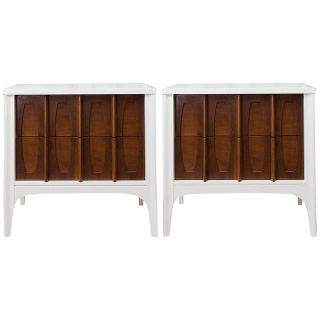 Mid-Century Modern Lacquered Sculptural Front Nightstands - a Pair - Image 1 of 9