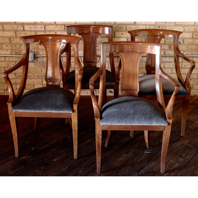 """Brown Empire """"Chaise en Gondole"""" Fruitwood Baker Dining Chairs - Set of Four For Sale - Image 8 of 8"""