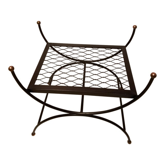 Hollywood Regency Neoclassical Salterini Style Iron & Brass Bench - Image 1 of 5