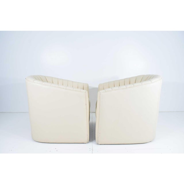 Plastic 1980s Channel Tufted Barrel Back Tub Chairs - a Pair For Sale - Image 7 of 8
