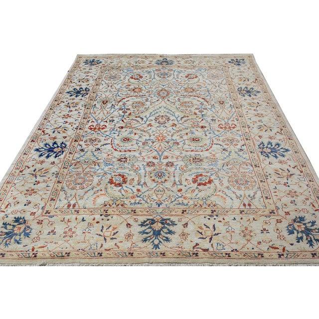 Textile Kafkaz Peshawar Abel Tan/Blue Hand-Knotted Rug - 6'6 X 9'7 For Sale - Image 7 of 8