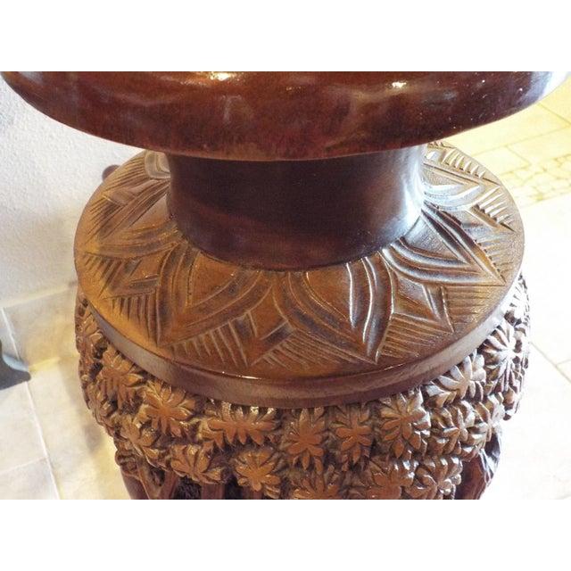 Thai Carved Wood Vases - Pair - Image 8 of 9