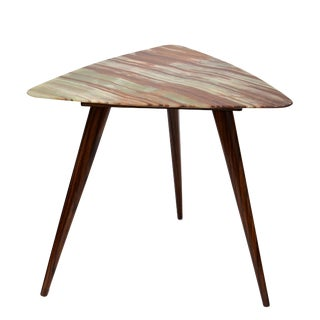 Italian Mid-Century Onyx and Rosewood Side Table For Sale