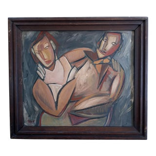 Mid 20th Century Cubist Portrait of a Man and Woman Oil Painting, Framed For Sale