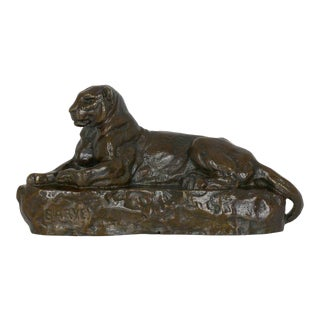"""French Bronze Sculpture After Antoine-Louis Barye """"Panther of India"""", Cast by Barbedienne For Sale"""