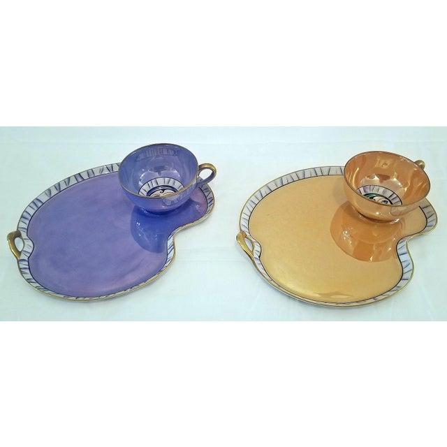 Art Deco Pair of Vintage Art Deco Noritake Betty Boop Cups on Platters For Sale - Image 3 of 10