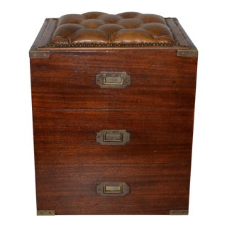 19th Century Campaign Mahogany Storage Chest W/ Tufted Leather Seat For Sale