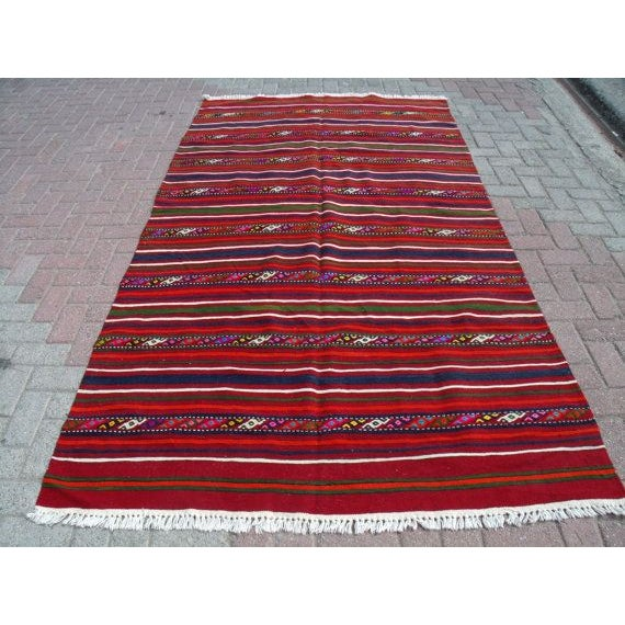 Beautiful Vintage Handmade Decorative Kilim, approximately 40 years old. Very fine quality. All Natural colors....