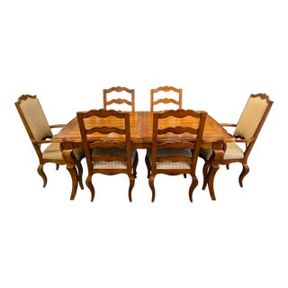 Century Furniture Gathering Extension Table + Six Ladderback Dining Chairs Set For Sale