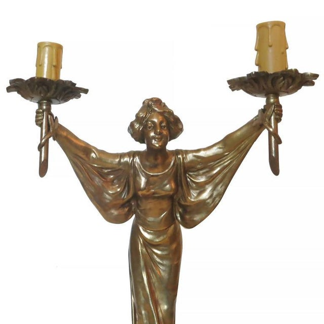 Art Nouveau Pair of Bronze Art Nouveau Style Figural Female Candelabra Lamp For Sale - Image 3 of 9
