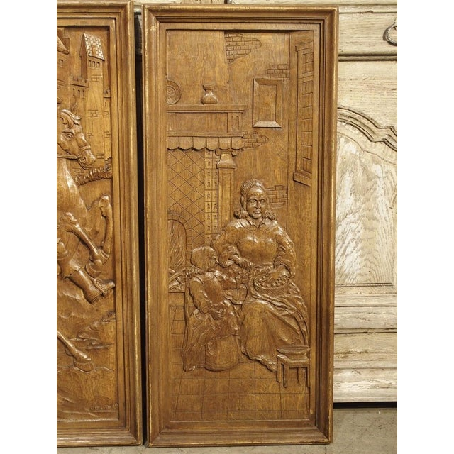 Set of Three Bas Relief Carved Belgian Panels, Circa 1930 For Sale In Dallas - Image 6 of 13