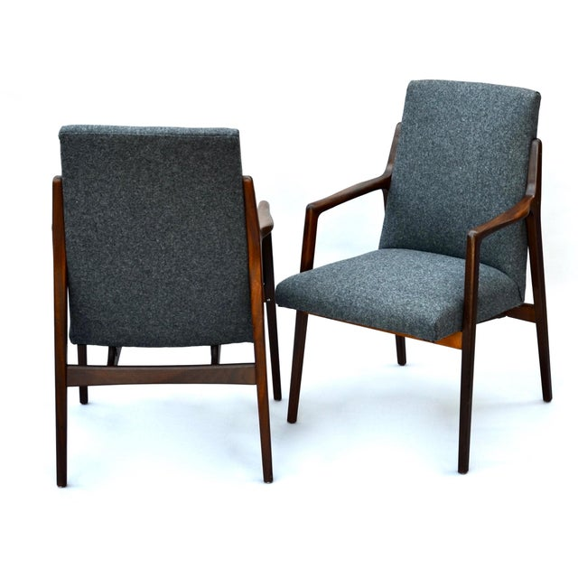 Mid-Century Modern Danish Mid Century Modern Highback Walnut Chair Pair For Sale - Image 3 of 7